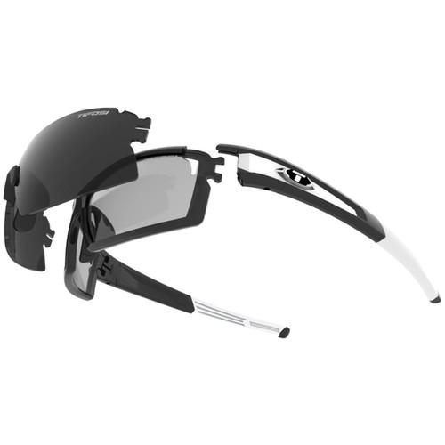 Tifosi Escalate S.F. Sunglasses (Black/White Frames & Smoke, Fototec: Light Night, Smoke Lenses)