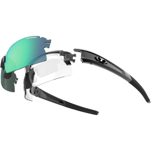 Tifosi Escalate H.S. Interchangeable Sunglasses Kit (Gloss Black - AC Red, Clarion Green, Clear)