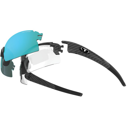 Tifosi Escalate H.S. Interchangeable Sunglasses Kit (Matte Carbon - AC Red, Clarion Blue, Clear)
