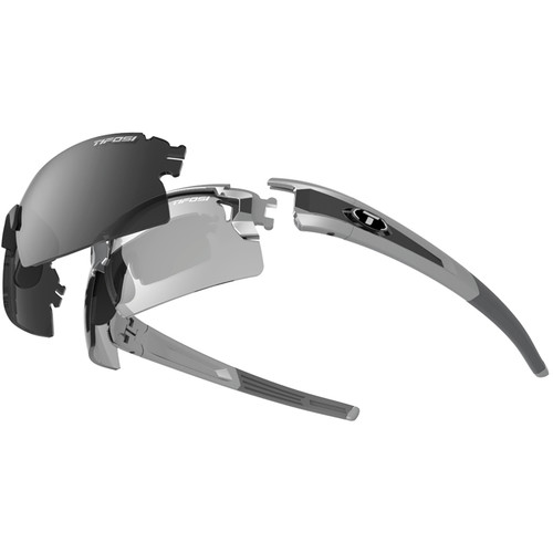 Tifosi Escalate H.S. Interchangeable Sunglasses Kit (Silver Gunmetal - Smoke, Fototec: Light Night & Smoke)