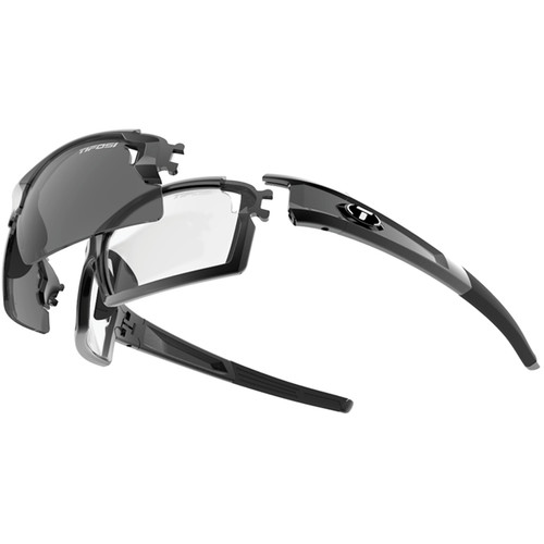 Tifosi Escalate F.H. Interchangeable Sunglasses Kit (Gloss Black - Smoke, Fototec: High Speed Red & Light Night)