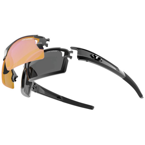Tifosi Escalate F.H. Interchangeable Sunglasses Kit (Gloss Black - AC Red, Clear,and Smoke Gray)