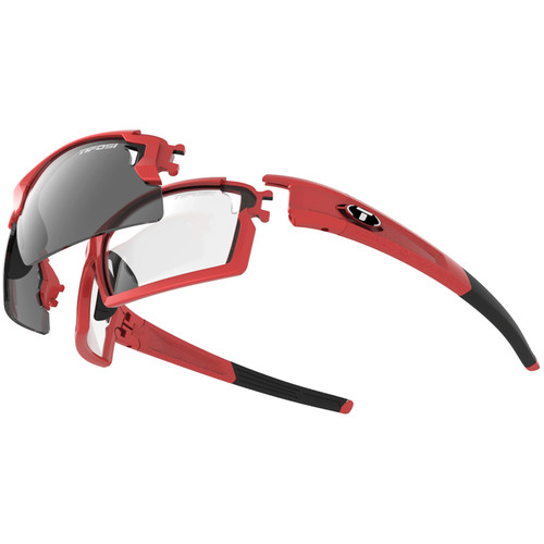 Tifosi Escalate F.H. Interchangeable Sunglasses Kit (Gloss Black - AC Red, Clear, and Smoke Gray)