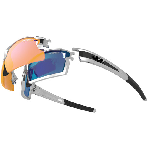 Tifosi Escalate F.H. Interchangeable Sunglasses Kit (Gloss Black - AC Red, Clarion Blue, and Clear)