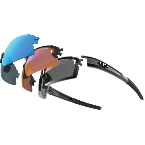 Tifosi Escalate S.F.H. Interchangeable Sunglasses Kit (Gloss Black Frame - AC Red, Clarion Blue, Clear, Smoke)