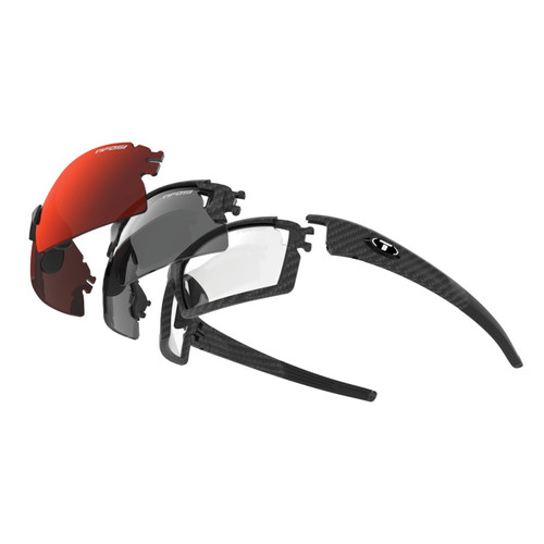 Tifosi Escalate S.F.H. Interchangeable Sunglasses Kit (Matte Carbon Frame - AC Red, Clarion Red, Clear, Smoke)