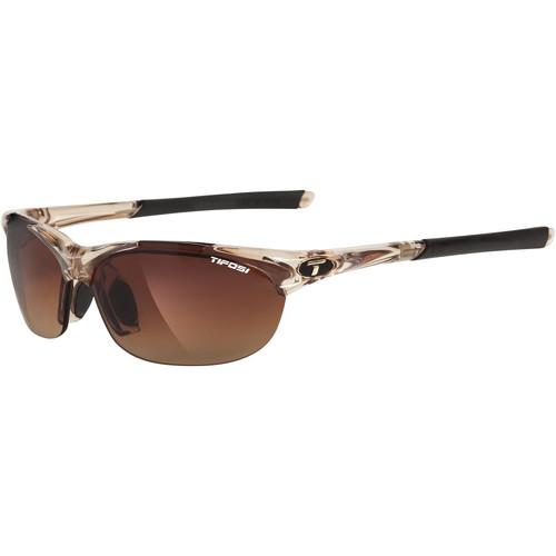 Tifosi Wisp Sunglasses (Crystal Brown Frames - AC Red, Brown Gradient, Clear Lenses)