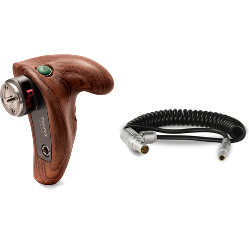 Tilta Right Side Wooden Handle for Shoulder Mount System with RED Run/Stop Cable