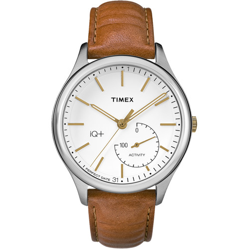 Timex IQ+ MOVE Activity Tracking Watch (Silver-Tone Case, Brown Leather Band)