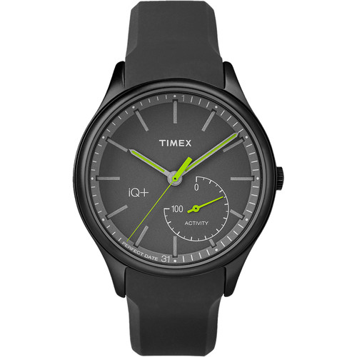 Timex IQ+ MOVE Activity Tracking Watch (Black Case, Black Silicon Band)