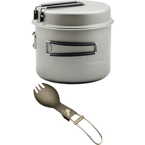 Toaks Outdoor 1600mL Titanium Pot & Pan with Titanium Folding Spork Kit