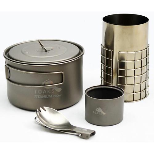Toaks Outdoor Ultralight Titanium Alcohol Stove Cook System with 700ml Pot