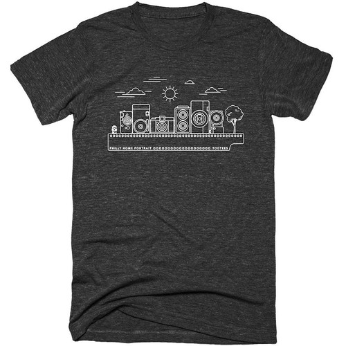 TogTees Philly Home Portrait T-Shirt (Monochrome, Large)