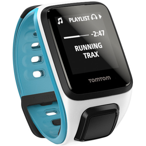 TomTom Spark Music Fitness Watch (White/Scuba Blue, Small)