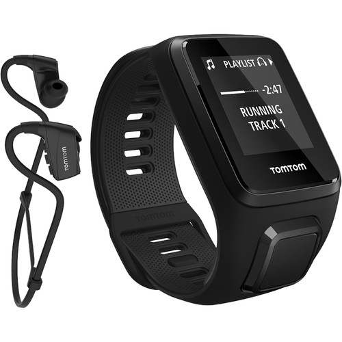 TomTom Spark 3 Cardio + Music Fitness Tracker with Built-In Heart Rate Monitor (Black, Large)