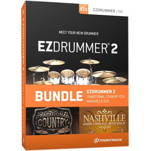 Toontrack EZdrummer 2 Country Edition - Virtual Drums and 2 Sound Libraries Bundle (Download)