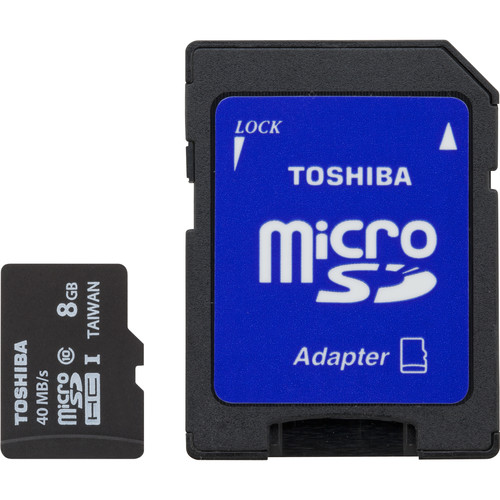 Toshiba 8GB microSDHC UHS-I Memory Card Kit (3-Pack, Includes SD Adapter)