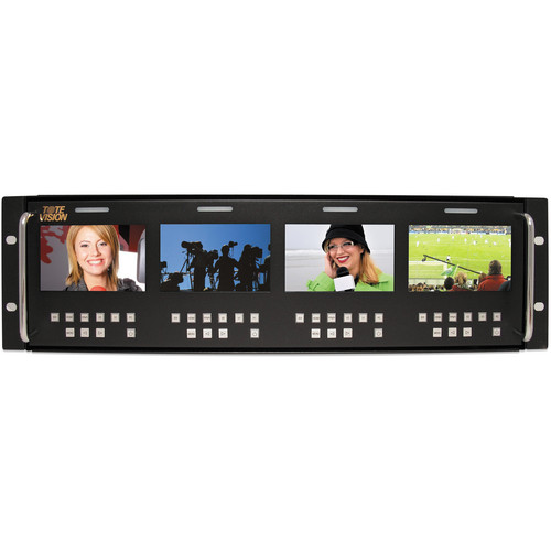 """Tote Vision Four 4"""" LED Monitors in Rack Mount"""