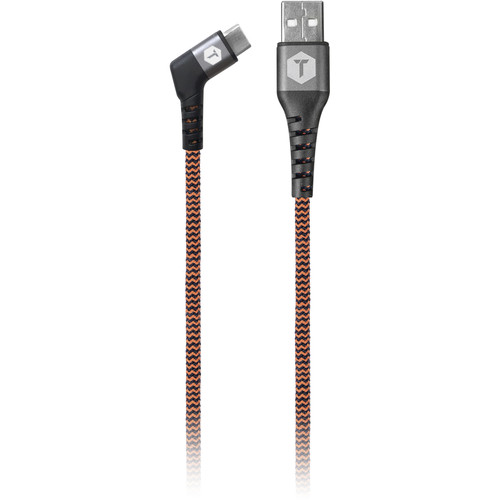 ToughTested Braided Right Angle USB Type-C Male to USB Type-A Male Cable (6')