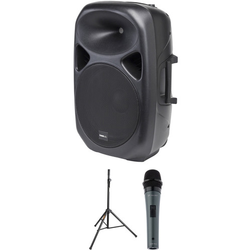 Tourtek GP15a Active PA Speaker Kit with Speaker Stand and Microphone