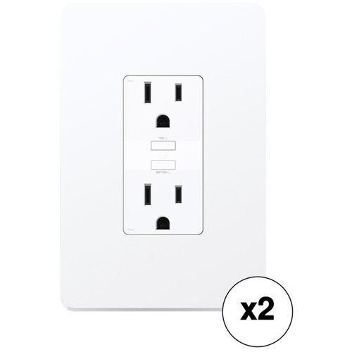 TP-Link KP200 Kasa Smart Wi-Fi In-Wall Power Outlet (2-Pack)