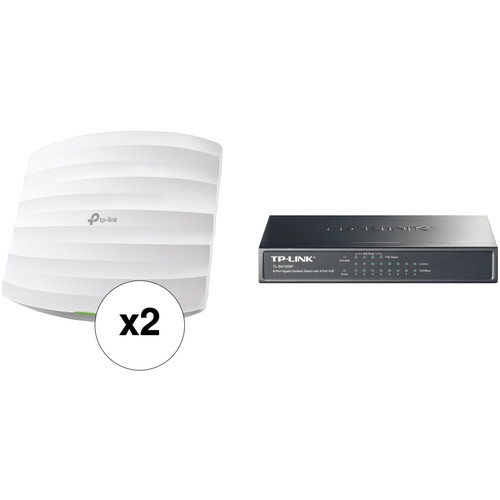 TP-Link EAP225 Ceiling-Mount Access Point Kit with TL-SF1008P 8-Port Desktop Switch
