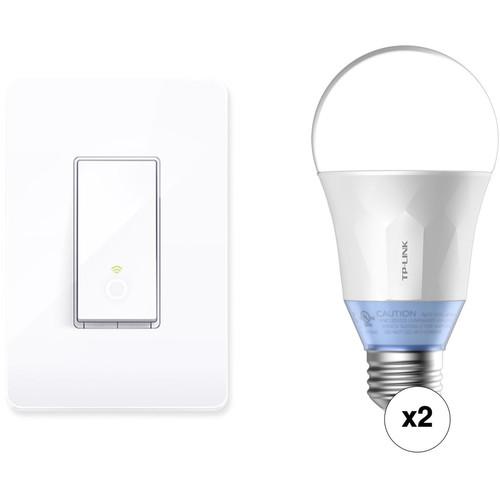 TP-Link Smart Wi-Fi Light Switch Kit with Two LB120 Wi-Fi Smart LED Bulbs
