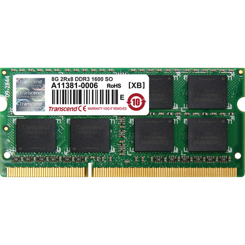 Transcend 8GB 204-Pin JetRam Series DDR3-1600 Memory Module for Notebooks