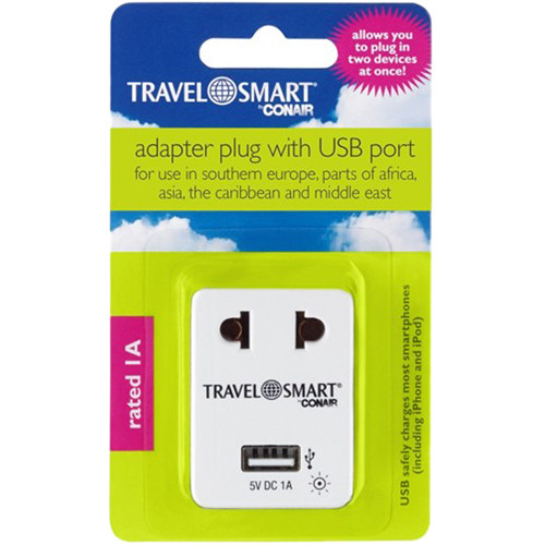 Travel Smart by Conair Adapter with USB Port (2-Prong USA to 2-Prong Europe)