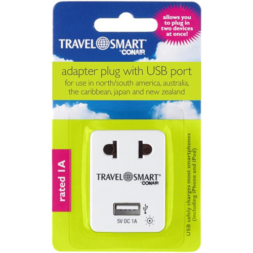 Travel Smart by Conair Adapter with USB Port (2-Prong Europe to 2-Prong USA)