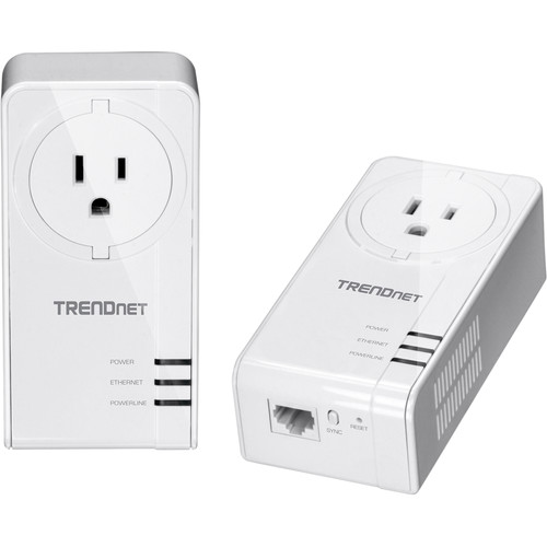 TRENDnet TPL-423E2K Powerline 1300 AV2 Adapter Kit with Built-In Outlet