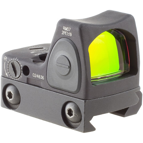 Trijicon RM07 RMR Type 2 Adjustable LED Reflex Sight with RM33 Mount (6.5 MOA Red Dot, Matte Black)