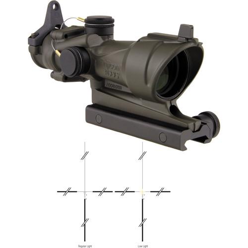 Trijicon 4x32 ACOG Riflescope (Amber Crosshair Illuminated Reticle, Cerakote OD Green)