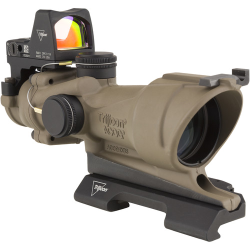 Trijicon 4x32 ACOG Center Illuminated Riflescope and 3.25 MOA Red Dot Type 2 RMR Sight Kit (CI 5.56 Amber Crosshair Reticle, Flat Dark Earth)