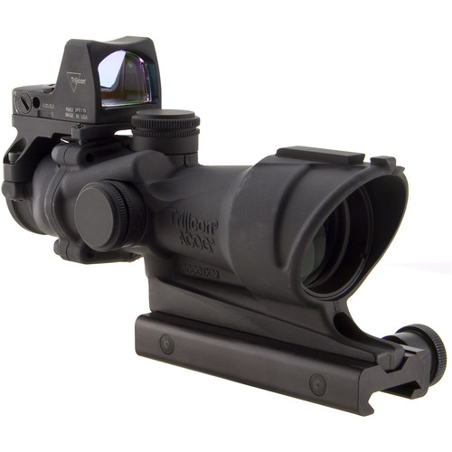 Trijicon 4x32 ACOG Center Illuminated Riflescope and 3.25 MOA Red Dot Type 2 RMR Sight Kit (CI .223 Amber Crosshair Reticle, Matte Black)