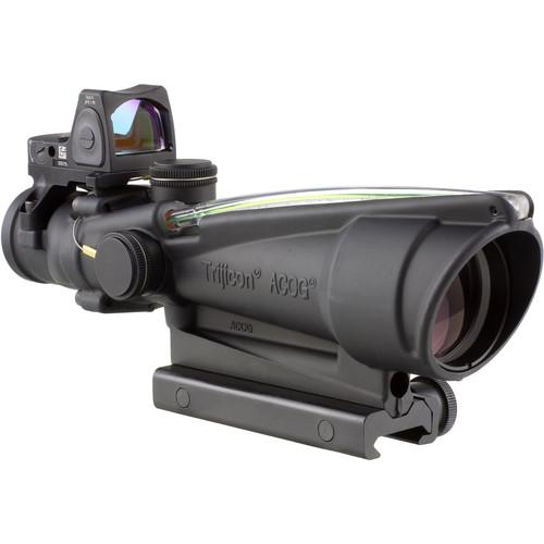 Trijicon 3.5x35 ACOG Riflescope & 3.25 MOA Red Dot Type 2 RMR Kit (Green Chevron .223 Ballistic Reticle, Matte Black)