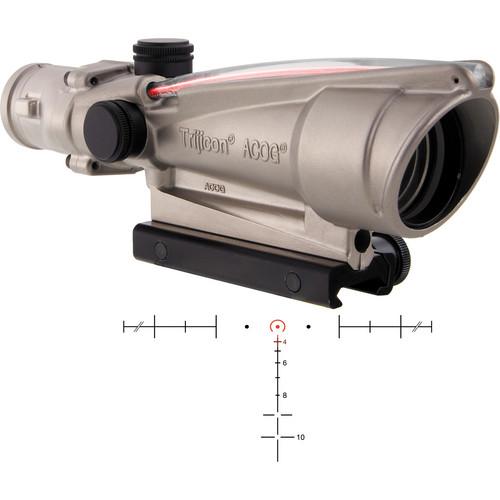 Trijicon 3.5x35 ACOG Dual-Illuminated Riflescope (Nickel, Red Horseshoe)