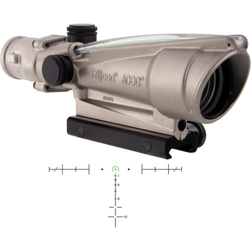 Trijicon 3.5x35 ACOG Dual-Illuminated Riflescope (Nickel, Green Horseshoe)
