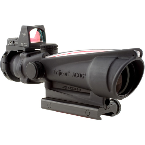 Trijicon 3.5x35 ACOG Riflescope & 3.25 MOA Red Dot Type 2 RMR Kit (Red Crosshair .223 Ballistic Reticle, Matte Black)