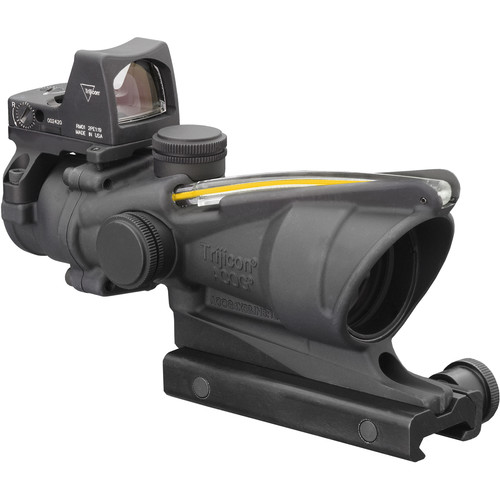 Trijicon 4x32 ACOG Dual Illuminated Riflescope and 3.25 MOA Red Dot Type 2 RMR Sight Kit (DI .223 Amber Crosshair Reticle, Matte Black)