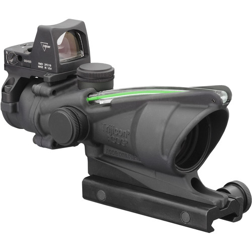 Trijicon 4x32 ACOG Dual Illuminated Riflescope and 3.25 MOA Red Dot Type 2 RMR Sight Kit (DI .223 Green Crosshair Reticle, Matte Black)