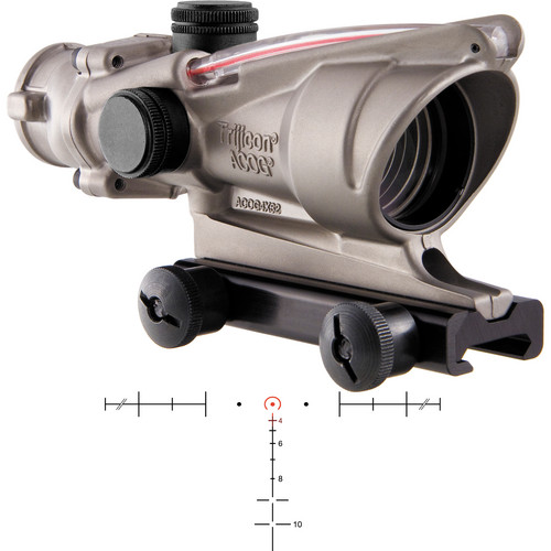 Trijicon 4x32 ACOG Dual-Illuminated Riflescope (Nickel, Red Horseshoe)