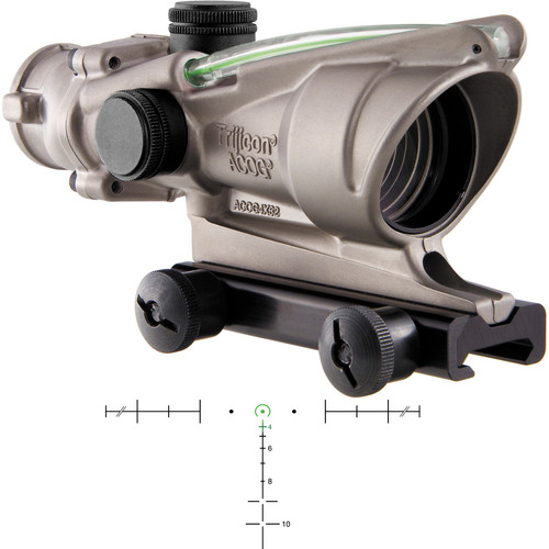 Trijicon 4x32 ACOG Dual-Illuminated Riflescope (Nickel, Green Horseshoe)