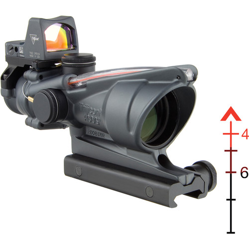 Trijicon 4x32 ACOG Riflescope & 3.25 MOA RMR Sight Kit (Red Dual-Illuminated Chevron .223 Ballistic Reticle, Cerakote Sniper Gray)