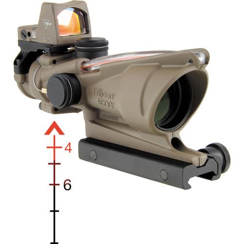 Trijicon 4x32 ACOG Riflescope & 3.25 MOA RMR Sight Kit (Red Dual-Illuminated Chevron .223 Ballistic Reticle, Cerakote Flat Dark Earth)