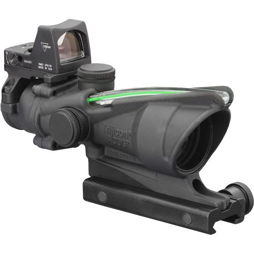 Trijicon 4x32 ACOG Dual Illuminated Riflescope and 3.25 MOA Red Dot Type 2 RMR Sight Kit (DI .223 Green Chevron Reticle, Matte Black)