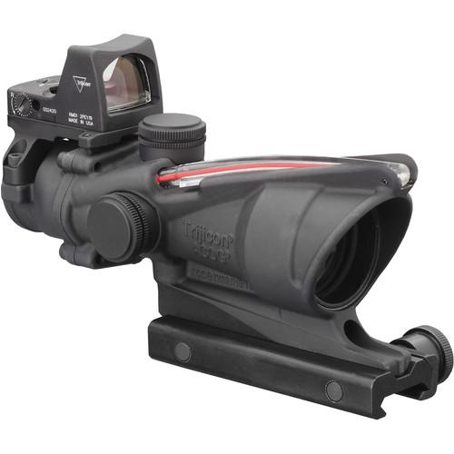 Trijicon 4x32 ACOG Dual Illuminated Riflescope and 3.25 MOA Red Dot Type 2 RMR Sight Kit (DI .223 Red Chevron Reticle, Matte Black)