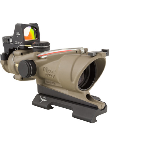 Trijicon 4x32 ACOG Dual Illuminated Riflescope and 3.25 MOA Red Dot Type 2 RMR Sight Kit (DI 5.56 Red Crosshair Reticle, Flat Dark Earth)