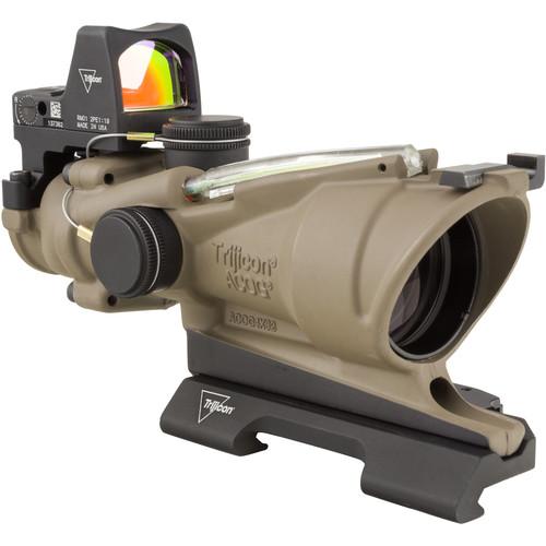 Trijicon 4x32 ACOG Dual Illuminated Riflescope and 3.25 MOA Red Dot Type 2 RMR Sight Kit (DI 5.56 Green Crosshair Reticle, Flat Dark Earth)