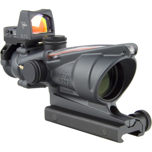 Trijicon 4x32 ACOG Dual Illuminated Riflescope and 3.25 MOA Red Dot Type 2 RMR Sight Kit (DI .223 Red Chevron Reticle, Cerakote Sniper Gray)